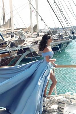 Fashion Blau Abendkleider Lang Günstig Schulterfrei Abendmoden Partykleider_4