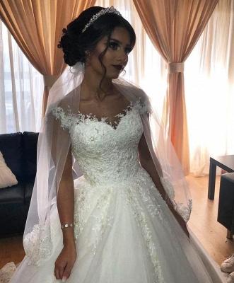 Schlichtes Brautkleid A Linie Spitze Ärmel | Brautmode Günstig Kaufen_2
