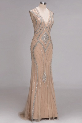 Fashion Evening Dresses Long Cheap Crystal Floor Length Evening Dresses_2