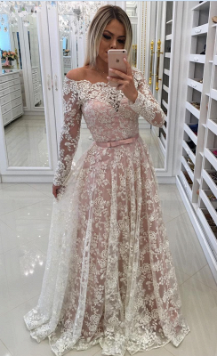 Evening dresses lace long sleeves a line prom dresses cheap online_1