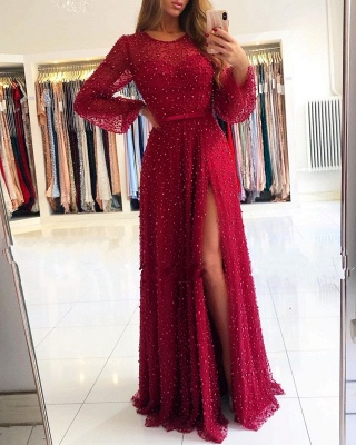 Designer Evening Dresses With Sleeves | Wine red evening wear lace_1