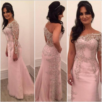 Sexy Pink Evening Dresses Long Sleeves Crystal Mermaid Evening Wear Prom Dresses_2
