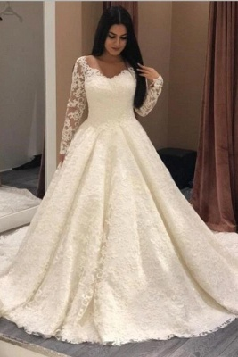 Designer wedding dresses with sleeves | A line bridal wear with lace_1