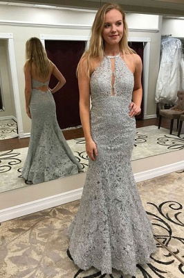Silver Evening Dresses With Lace | Evening wear online cheap_1