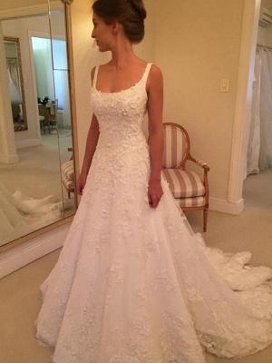 Fashion Hochzeitskleider A Linie Späghetti Träger Spitze Hochzeitskleider Online_2