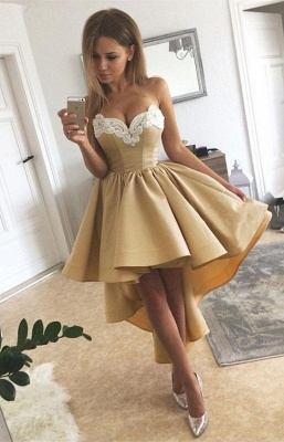 Golden Cocktail Dresses Short Front Long Back Prom Dresses Online_1