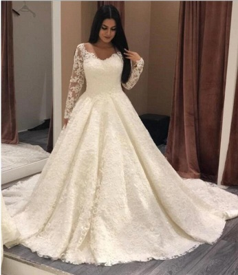 Designer wedding dresses with sleeves | A line bridal wear with lace_2