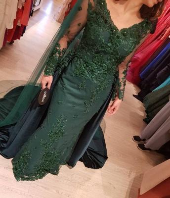 Elegante Grüne Abendkleider | Abendkleid Mit Ärmel Online_1