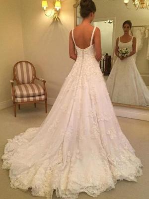 Fashion Hochzeitskleider A Linie Späghetti Träger Spitze Hochzeitskleider Online_3