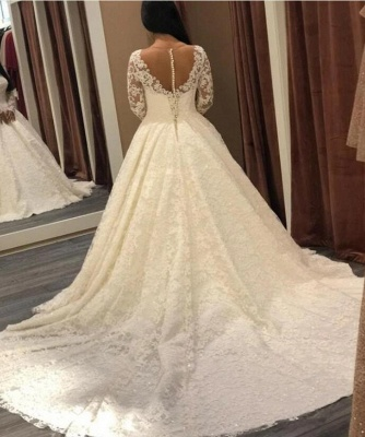 Designer wedding dresses with sleeves | A line bridal wear with lace_3