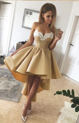 Golden Cocktail Dresses Short Front Long Back Prom Dresses Online_2