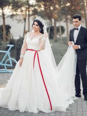 Designer White Wedding Dresses Large Size A Line Wedding Dresses With Sleeves_1