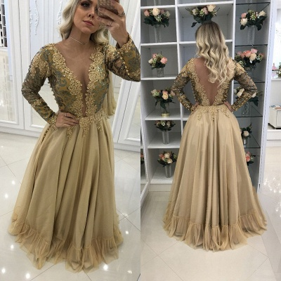 Golden evening dresses long with sleeves cheap lace evening dresses prom dresses_2