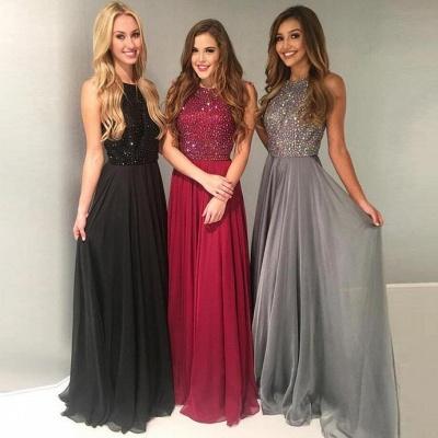 Elegant Red Black Evening Dresses Long Chiffon Cheap Prom Dresses Online_2