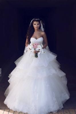 Prinzessin Weiß Brautkleider Mit Spitze Tüll Brautmoden Hochzeitskleider_1