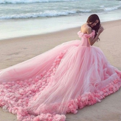 Designer Rosa Hochzeitskleider Günstig Schulterfrei Prinzessin Blumen Brautkleider Mit Schleppe_2