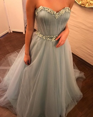 Gorgeous evening dresses with sleeves | Blue prom dresses online_4