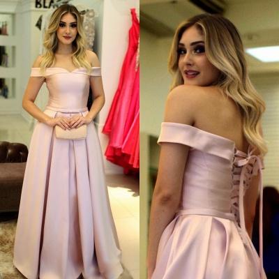 Fashion Rosa Abendkleider Lang Günstig A Line Ballkleider Abiballkleider Online_2