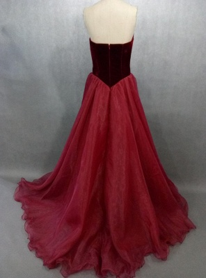 Wine Red Evening Dresses Long Cheap Organza A Line Floor Length Prom Dresses Party Dresses_2