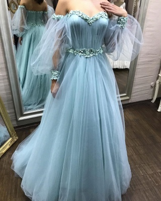 Gorgeous evening dresses with sleeves | Blue prom dresses online_1