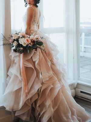 Elegant Pink Wedding Dresses A Line With Lace Cheap Wedding Dresses Online_2