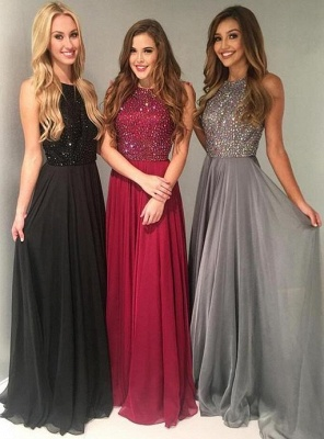 Elegant Red Black Evening Dresses Long Chiffon Cheap Prom Dresses Online_1