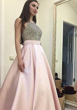 Rosa Silber Lange Abendkleider Satin A Linie Abendmoden Partykleider_1