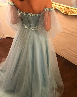 Gorgeous evening dresses with sleeves | Blue prom dresses online_3