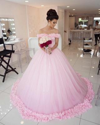 Designer Rosa Hochzeitskleider Günstig Schulterfrei Prinzessin Blumen Brautkleider Mit Schleppe_4