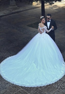 Elegant White Wedding Dresses Long Sleeves Lace A Line Tulle Bridal Gowns Online_3