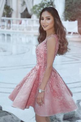 Rosa cocktailkleid Kurz A Linie Perlen Festliche Kleider Abendkleider_2
