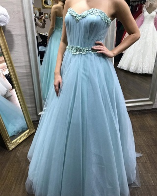 Gorgeous evening dresses with sleeves | Blue prom dresses online_2