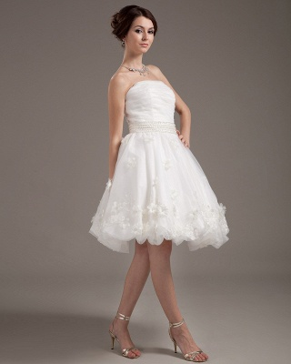 Simple Short Wedding Dresses Cream A Line Organza Bridal Wedding Dresses_4