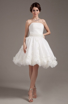 Simple Short Wedding Dresses Cream A Line Organza Bridal Wedding Dresses_1