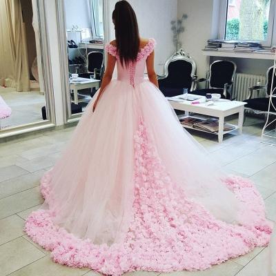 Designer Rosa Hochzeitskleider Günstig Schulterfrei Prinzessin Blumen Brautkleider Mit Schleppe_3