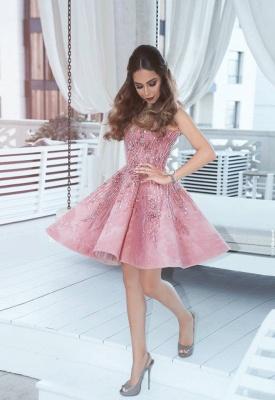 Rosa cocktailkleid Kurz A Linie Perlen Festliche Kleider Abendkleider_3