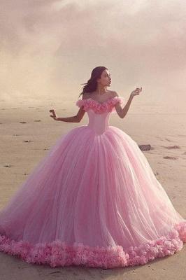 Designer Rosa Hochzeitskleider Günstig Schulterfrei Prinzessin Blumen Brautkleider Mit Schleppe_1