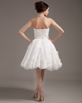 Simple Short Wedding Dresses Cream A Line Organza Bridal Wedding Dresses_3