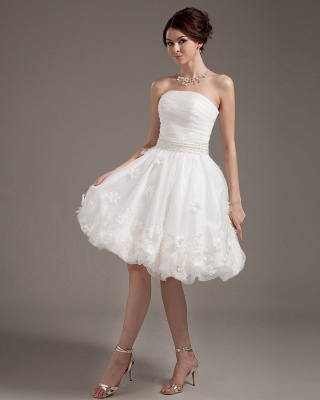 Simple Short Wedding Dresses Cream A Line Organza Bridal Wedding Dresses_2
