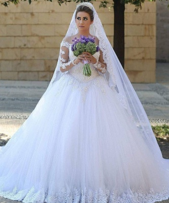 Elegant White Wedding Dresses Long Sleeves Lace A Line Tulle Bridal Gowns Online_1