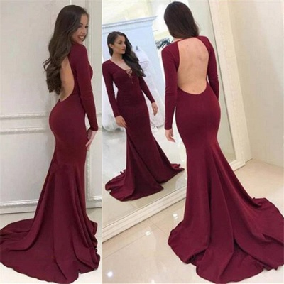 Elegant Evening Dress Long Red With Sleeves Mermaid Evening Dresses Prom Dresses Cheap_3