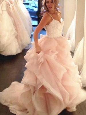 Elegante Rosa Brautkleider A Linie Mit Spitze Günstige Hochzeitskleider Online_1