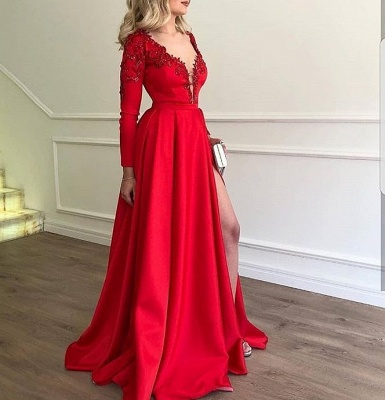 Elegant Evening Dresses Long Red Abbiball Dresses With Sleeves Cheap_2