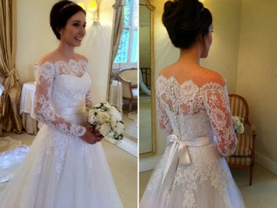 Chic Long Sleeves Wedding Dresses White Lace A line Bridal Gown Wedding Gowns_3