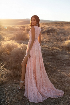 Evening dresses long v neckline pink | Prom dresses with lace_2