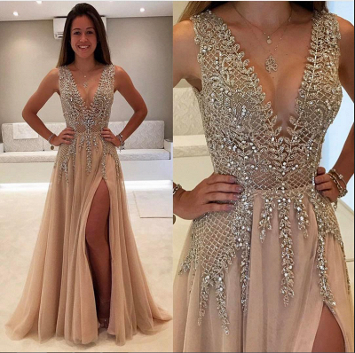 Champagne Evening Dresses Long Cheap V Neck Tulle Evening Wear Prom Dresses_2