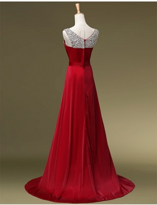 Red Evening Dresses Long Cheap Straps Beaded A Line Chiffon Prom Dresses_3