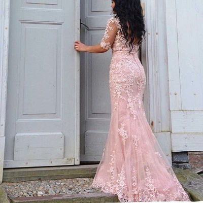 Champagne Evening Dresses Long With Sleeves Lace Mermaid Evening Wear Prom Dresses Cheap_5