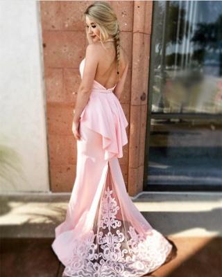 schlichte Rosa Abendkleider Lang Günstig Satin Abiballkleider Mit Spitze_1