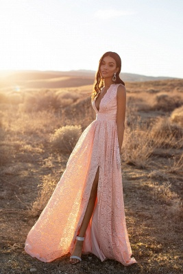 Evening dresses long v neckline pink | Prom dresses with lace_4